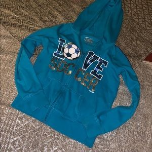 """Justice """"Love  Soccer"""" Hoodie Size 8 Pre Owned"""